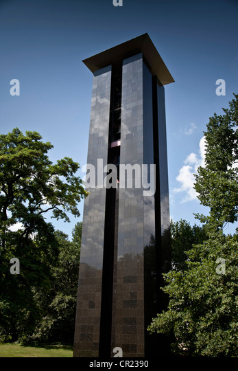 Modern tower in park - Stock Image