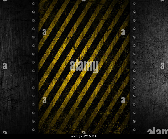 Grunge metal background with a yellow and black distressed texture - Stock Image