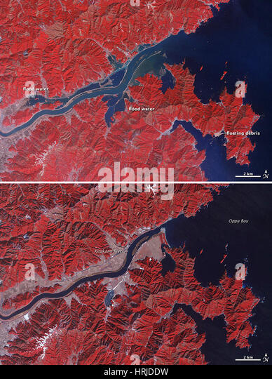 Kitakami River Floods, ASTER Images, 2011 - Stock Image