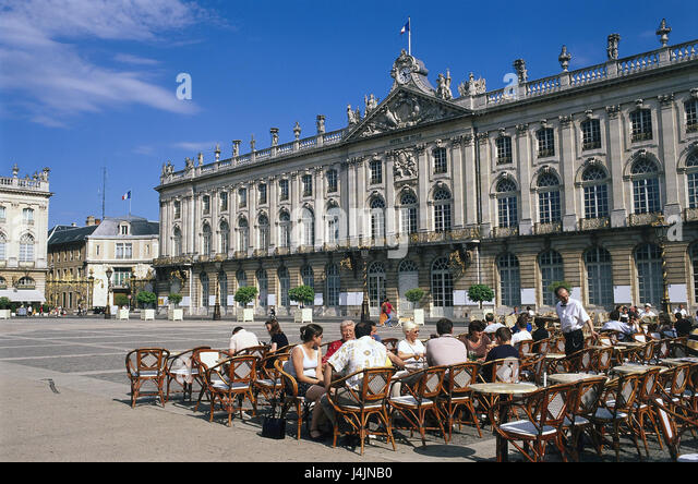 Frank empires, Lorraine, Nancy, city hall, Place Stanislas, street cafe of Europe, summer, building, structure, - Stock-Bilder