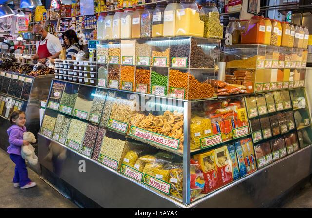 California CA Los Angeles L.A. Downtown Grand Central Market public market Homer Laughlin Building landmark shopping - Stock Image