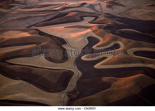 Aerial of wheatfields, Palouse, Washington, USA - Stock Image