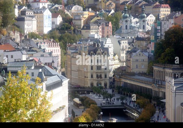 In view of the Mill Colonnade in Karlovy Vary, Karlovy Vary ( Carlsbad, Karlsbad), Czech Republic, Europe - Stock-Bilder