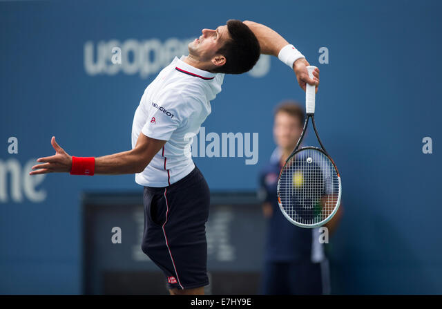 Flushing Meadows, NY, USA. 30th Aug, 2014. Novak Djokovic  (SRB) in 3rd round action at the US Open Tennis Championships. - Stock Image