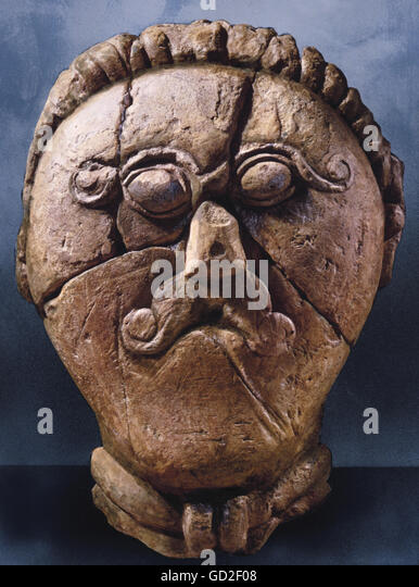 fine arts, art, epoch, epochs, ancient world, ancient times, Celts, sculpture, head of a ancestor, limestone, Msecke - Stock-Bilder