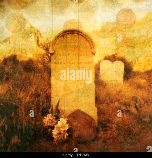 Old western tombstone with textures and rising 'souls'. Photo based illustration. - Stock Image
