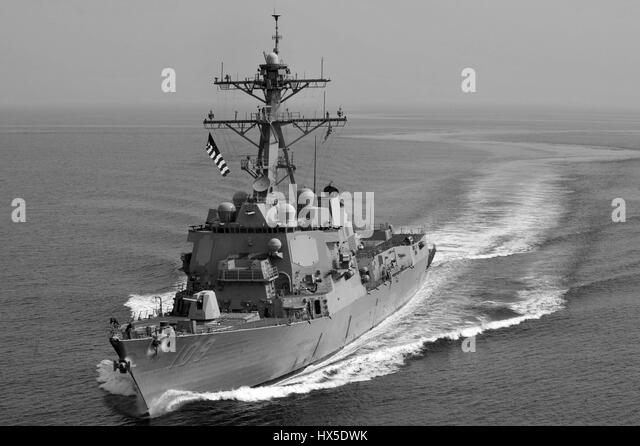 Guided-missile destroyer USS Jason Dunham (DDG 109) on the water in the U.S. 5th fleet area od responsibility, 2013. - Stock Image