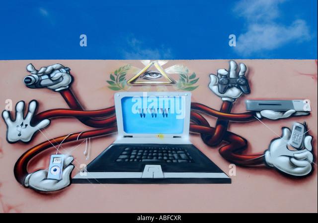 COMPUTER GRAFFITI ILLUSTRATION - Stock Image