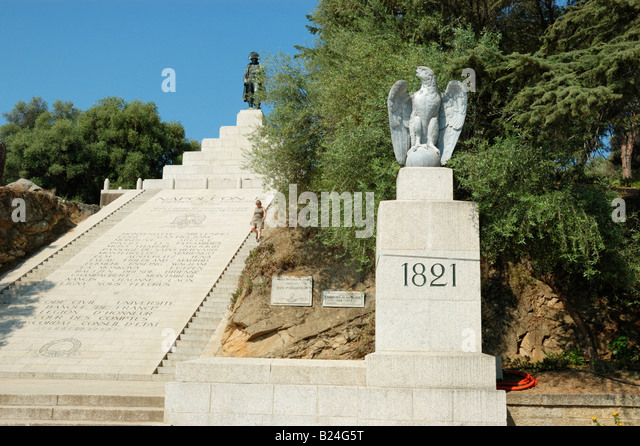 Monument to Napoleon at Austerlitz Square on the top of Cours General Leclerc, Ajaccio Corsica - Stock Image