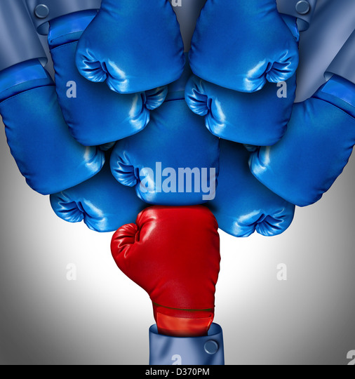 Overcoming adversity and conquering challenges as a group of blue boxing gloves ganging up on a single red glove - Stock-Bilder