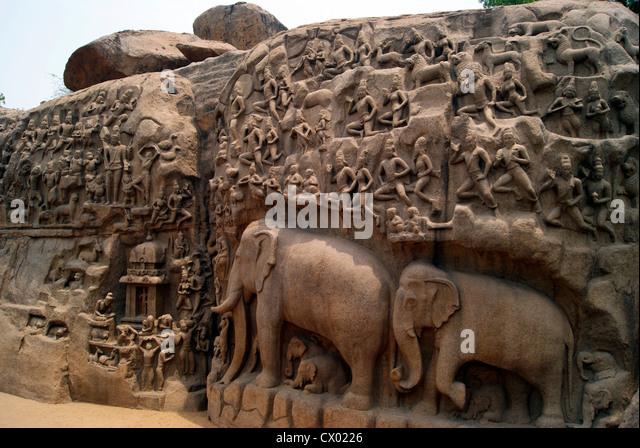 Arjuna Penance Stone Carvings in Mahabalipuram Tamil Nadu India, world largest stone bas relief and UNESCO world - Stock Image