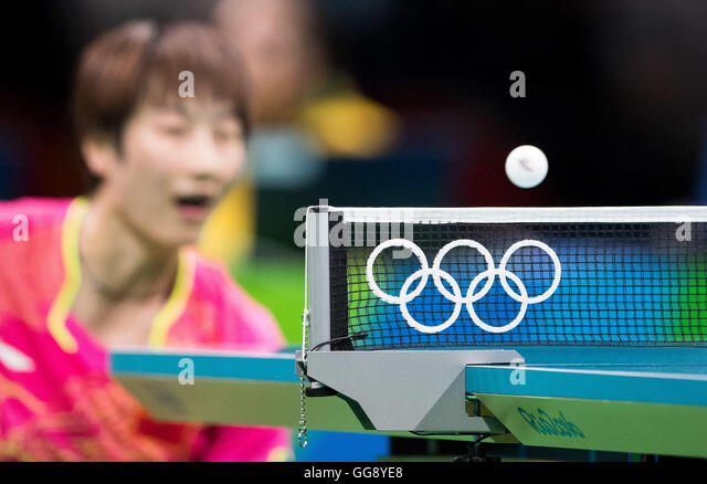 Rio de Janeiro, Brazil. 10th August, 2016. Olympics 2016 Table Tennis - Detail of the network with the logo of the - Stock Image