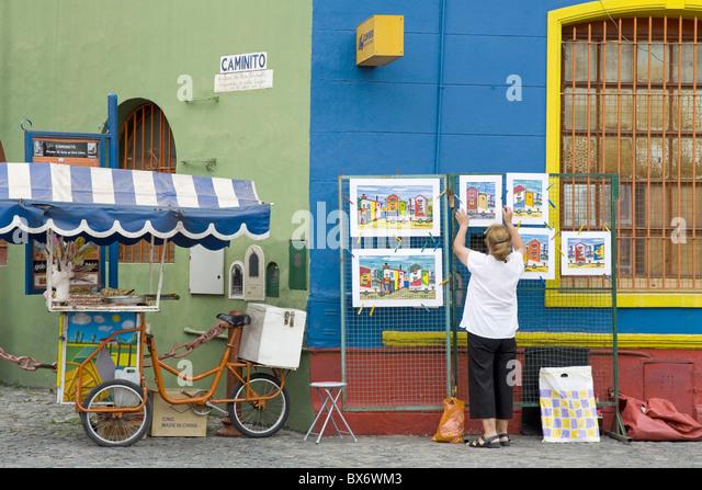 Vendor on El Caminito Street in La Boca District of Buenos Aires City, Argentina, South America - Stock Image