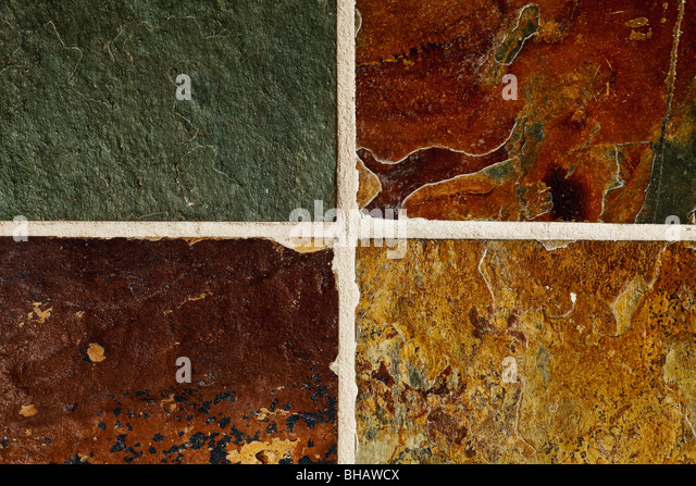 natural slate stone flooring tile abstract background - Stock Image