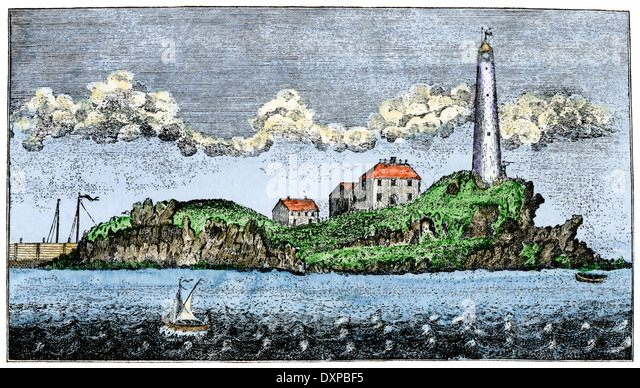 Boston Light, on Little Brewster Island, in 1789. - Stock Image
