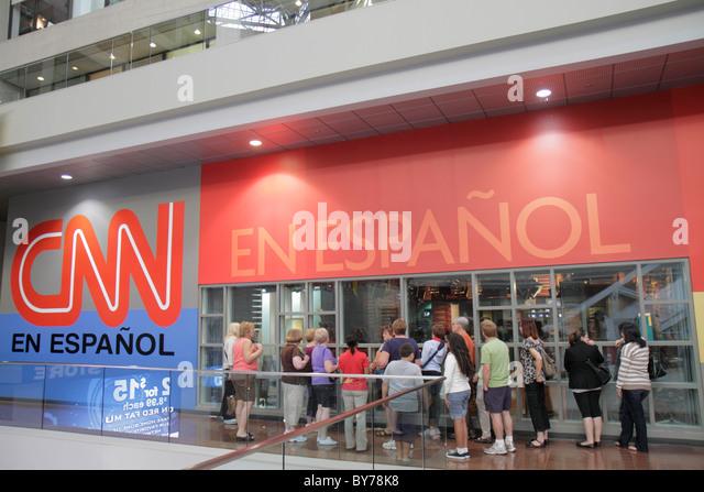 Atlanta Georgia CNN Center Cable News Network television news media world headquarters Inside CNN Studio Tour atrium - Stock Image