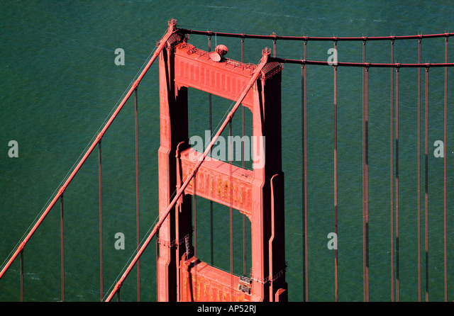 aerial view above Golden Gate bridge San Francisco California - Stock Image