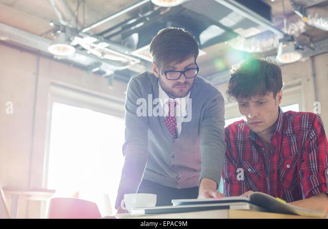 creative businessman document editing office - Stock Image