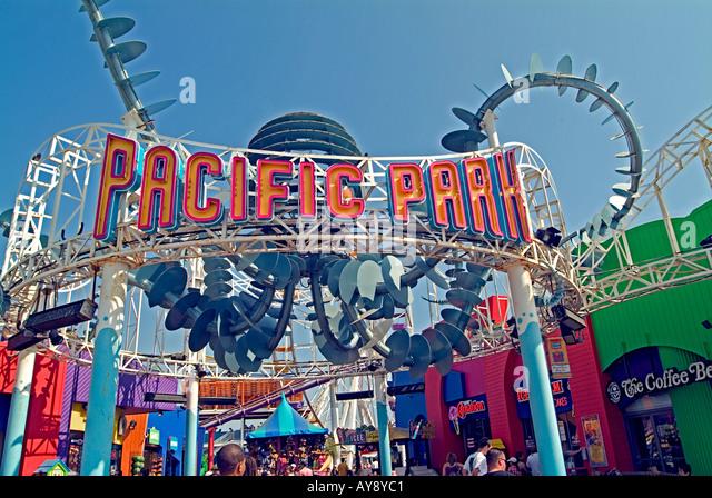 Entrance to Ocean Pacific park amusements on Santa Monica pier, California CA Ocean Pacific park - Stock Image