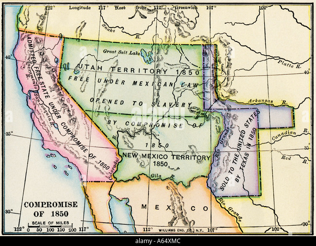Map showing the expansion of slavery in western US territory after the Compromise of 1850 - Stock-Bilder