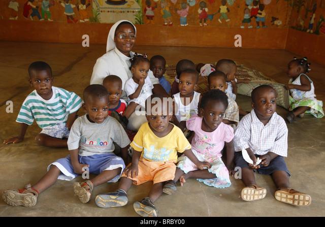 Kindergarten run by Catholic nuns, Lome, Togo, West Africa - Stock Image
