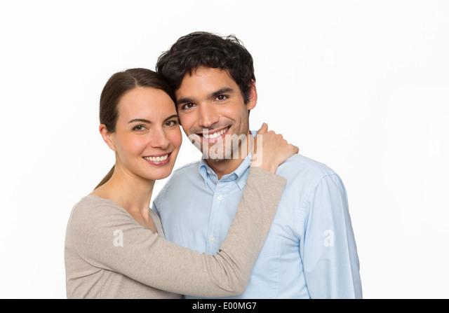 Pretty woman cheerful man love studio - Stock-Bilder