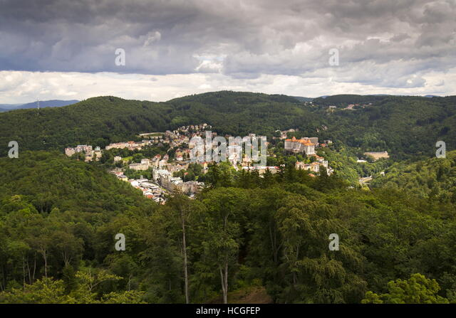 Aerial view of spa town Karlovy Vary in the Czech republic - Stock-Bilder