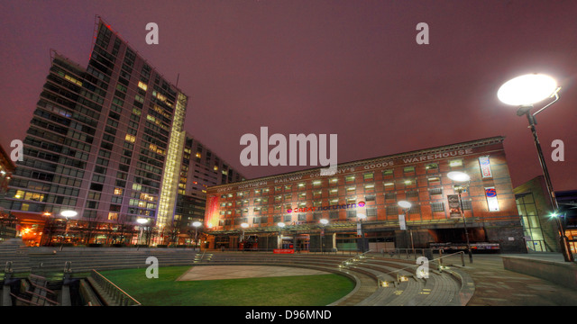 Manchester Great Northern Railway Warehouse, entertainment complex at dusk, NW England, UK - Stock Image