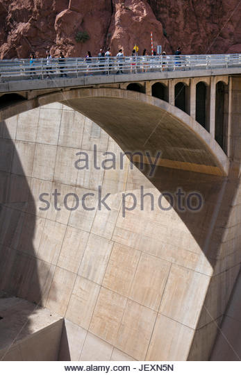 A bridge over an overflow spillway in Lake Meade National Recreation Area, Arizona. - Stock Image