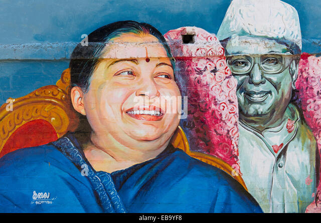 Wall painting depicting the Tamil actress and politician Jayalalithaa Jayaram, Madurai, Tamil Nadu, India - Stock-Bilder