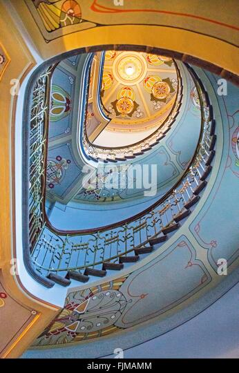 geography / travel, Latvia, Riga, houses in the Art Nouveau quarter, Strelnieku iela, staircase to the Art Nouveau - Stock-Bilder