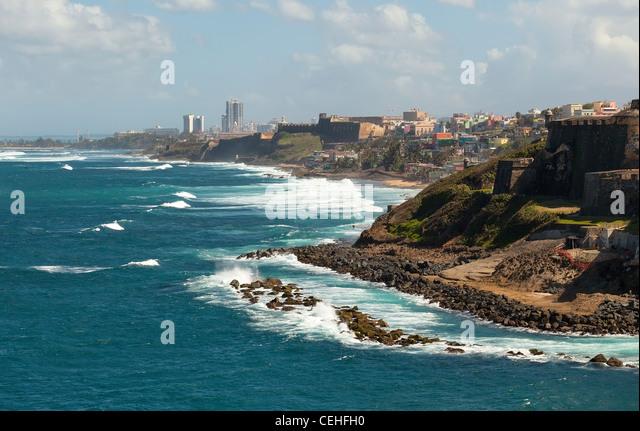 Coastline of San Juan, Puerto Rico - Stock Image