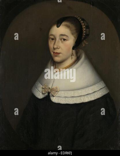Portrait of a Woman, presumably Catharina Kettingh, Wife of Bartholomeus Vermuyden, Maria de la Quevellerie - Stock Image