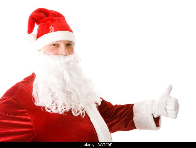 Photo of happy Santa Claus showing thumb up - Stock Image