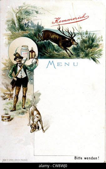 Kemmerich advertising menu: hunting and rowing - Stock Image