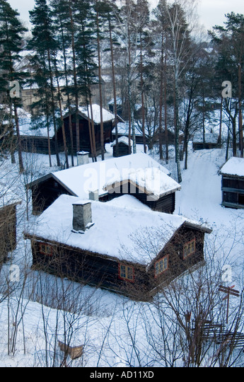 Collection of traditional homes near the Gol Stave Church at the Norsk Folkesmuseum on Bygdoy, Oslo, Norway - Stock Image