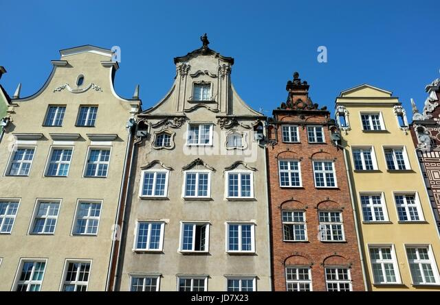 The facades of traditional buildings in Gdansk, Poland, central/eastern Europe. June 2017. - Stock Image