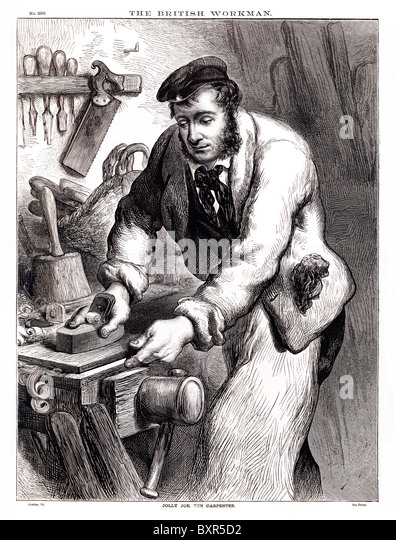 Jolly Joe The Carpenter, Victorian engraving of a skilled tradesman at work with wood - Stock Image