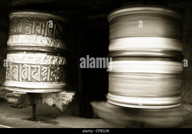 Prayer Wheels, Himalayas, India - Stock-Bilder