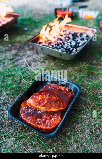 Pickled mutton steak on non-permanent foil grill closeup - Stock Image