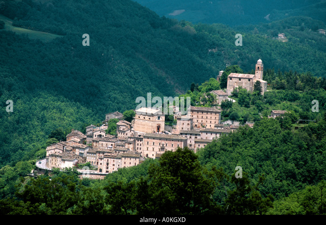 View of Montefortino in  the National Park of Monti Sibillini,  Le  Mache ,Italy - Stock Image