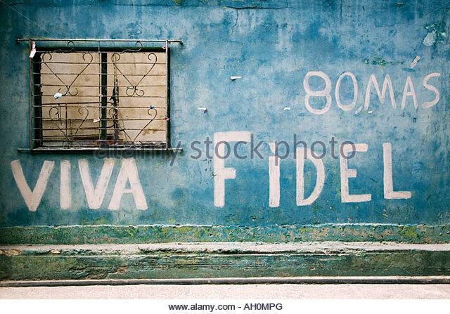 Viva Fidel graffiti, Havana, Cuba - Stock Image