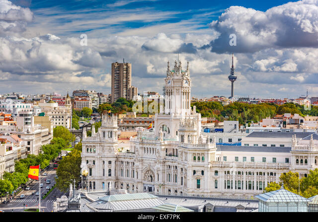 Madrid, Spain cityscape with Communication Palace and Torrespana Tower. - Stock-Bilder