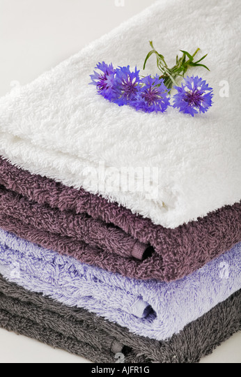 Towels on white background decorated with blue cornflowers Studio shot - Stock Image