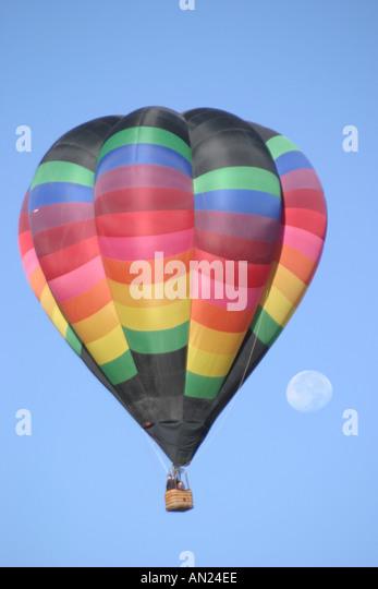 Albuquerque New Mexico hot air balloon moon T - Stock Image