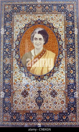 Indira Gandhi portrait on a textile carpet , late Indian prime minister - Stock Image