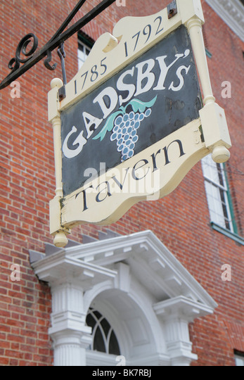 Virginia Alexandria Old Town Alexandria historic district North Royal Street Gadsby's Tavern Museum 1785 18th - Stock Image