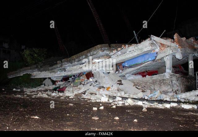 Quito, Ecuador. 16th Apr, 2016. Debris of a house are seen after an earthquake in Quito, Ecuador, on April 16, 2016. - Stock Image