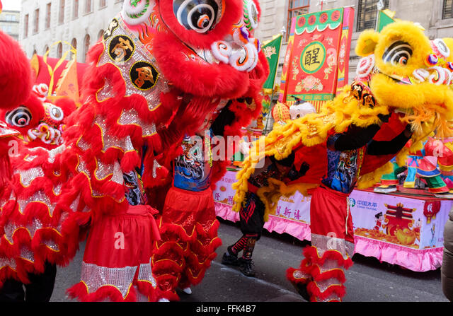 Chinese New Year London Lion dancers prepare for the parade Stock