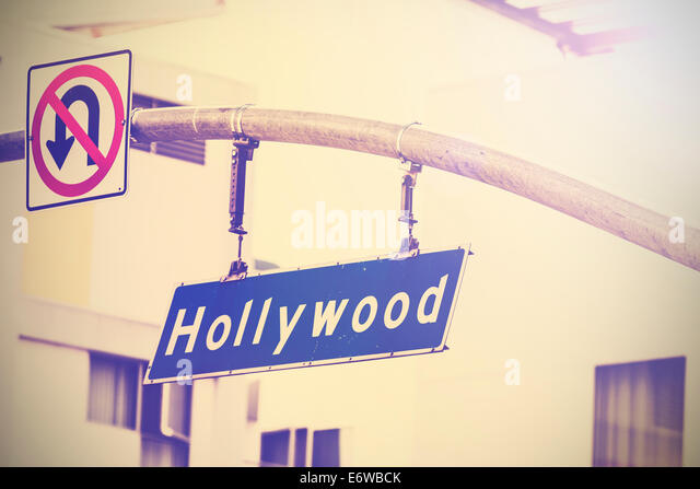 Vintage picture of Hollywood street sign in Hollywood, USA. - Stock Image